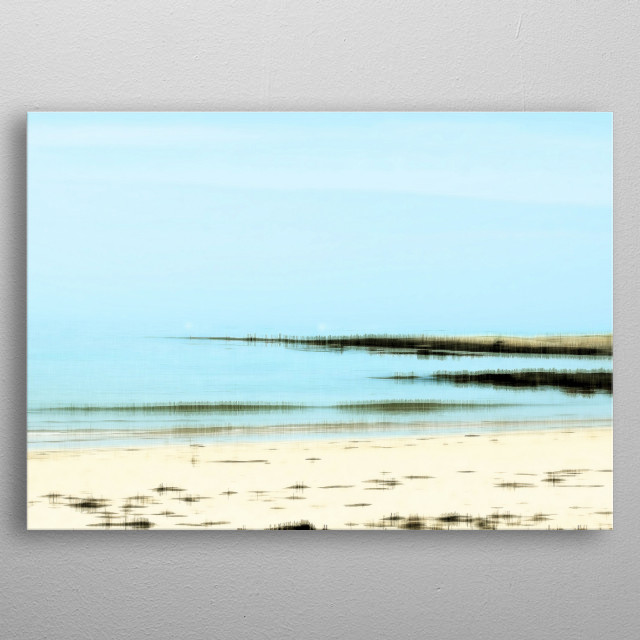 Peaceful, relaxing light blue seascape. Photo taken at Rhosneigr, Anglesey, North Wales metal poster