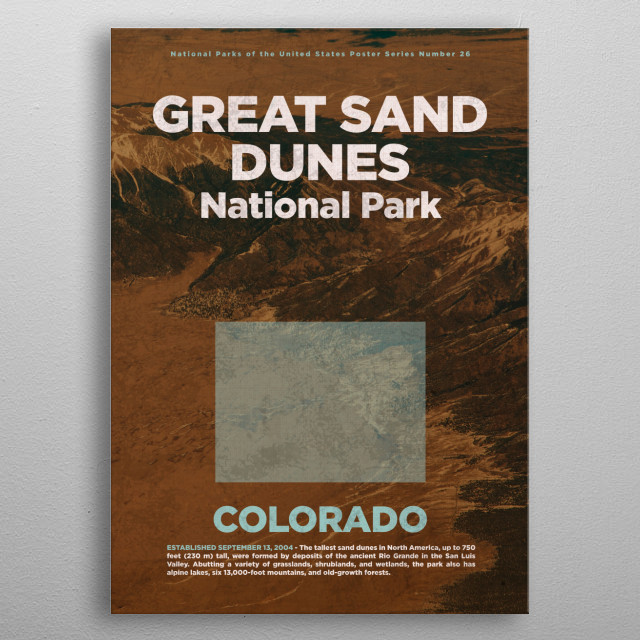 Great Sand Dunes National Park Colorado metal poster