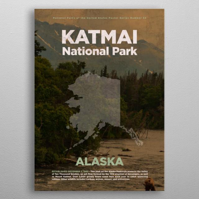 Katmai National Park Alaska metal poster