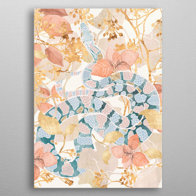 Abstract depiction of a snake in a coral spring garden metal poster