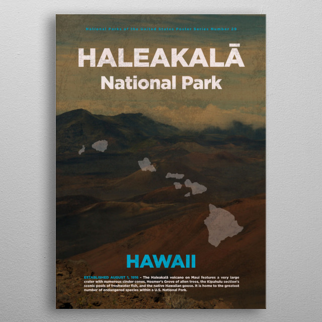 Haleakala Hawaii National Park metal poster
