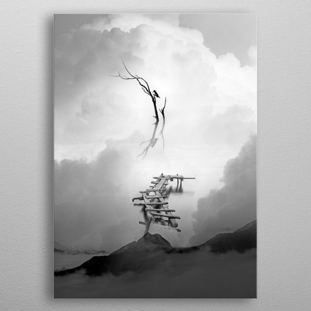 Artwork of a bird standing on a branch of dark river. The viewer can easily follow the wooden bridge to find a beautiful black bird o metal poster