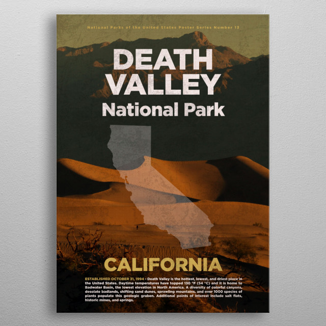 Death Valley California National Park metal poster