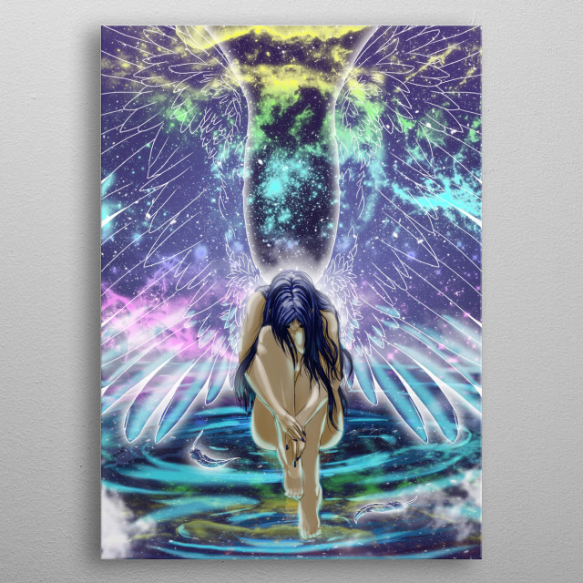 Illustration of an angel sitting on water reflecting the starry sky. metal poster