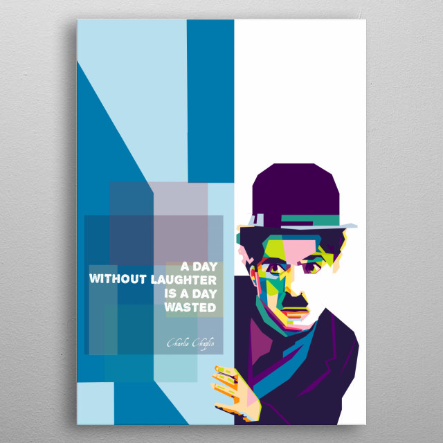 Portrait illustration of Charlie Chaplin with wpap style. Do not buy if it is not suitable with your room decoration. metal poster