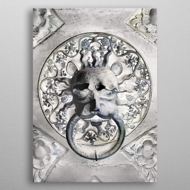 Door handle, white. metal poster