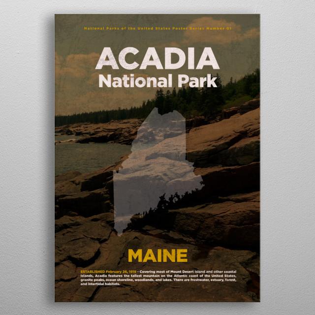 Acadia National Park USA Facts Series metal poster