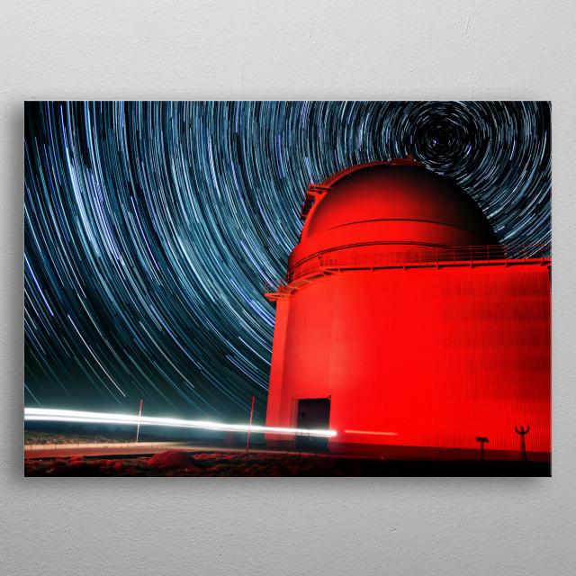 56 minute star trail behind a  telescope - Calar Alto, Spain metal poster
