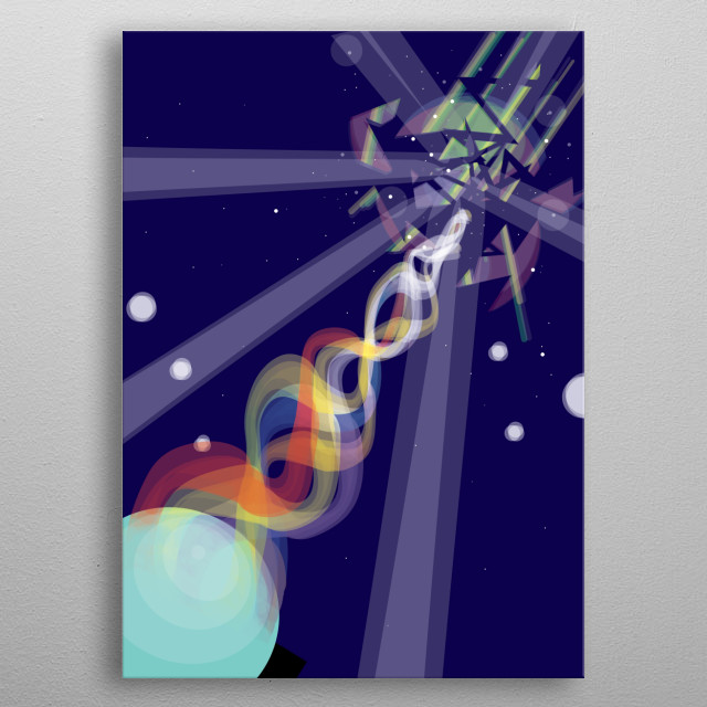 """Fifth part belonging to a pentaptych, which tells a story of an unknown menace coming from space.  Subtitle: """"Alone we will be blown away"""". metal poster"""