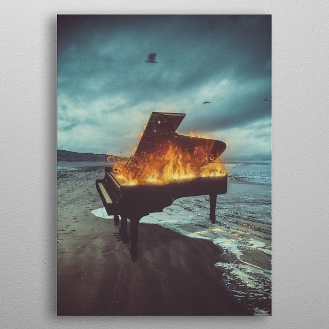 An artwork of a burning piano at a beach where seagulls fly and the sky is dark like a dream suddenly turning to a nightmare. metal poster
