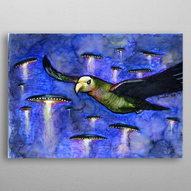 Alien ships in the sky or is it space or is it another world? Painted for the birds in space series. metal poster