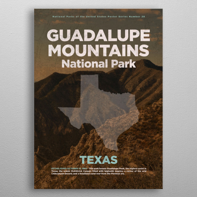 Guadalupe Mountains National Park Texas metal poster