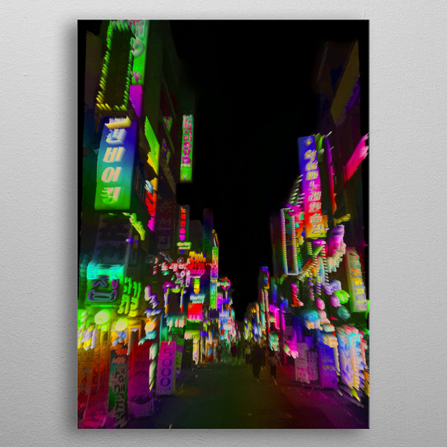 The streets of Seoul, South Korea. Edited to give a surreal, dreamy, trippy look. metal poster