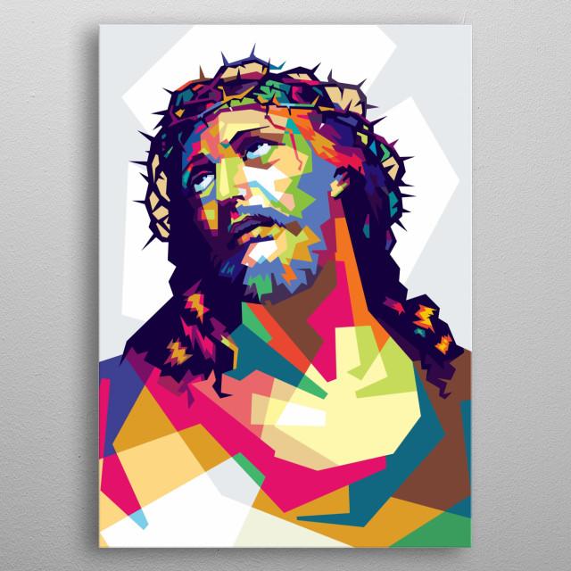 Jesus Christ in popart portrait metal poster