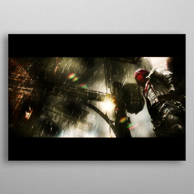 The Red Hood (Arkham-verse) watches over Gotham, waiting to exterminate villains. metal poster