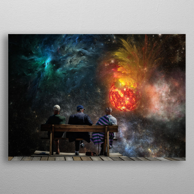Three men are looking at the great show of the universe metal poster