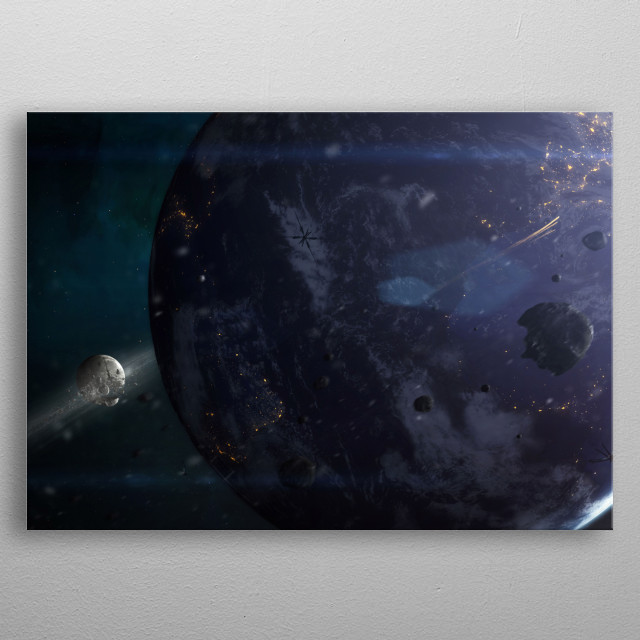 Destroyed moon in earth orbit. Inspired by Oblivion.  metal poster