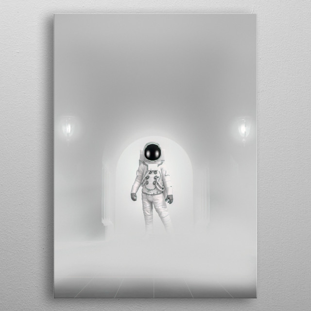 Astronaut wearing a 1960's Apollo suit enters the reluctantly with a little bravado enters the white room. Art by Bob Orsillo. metal poster