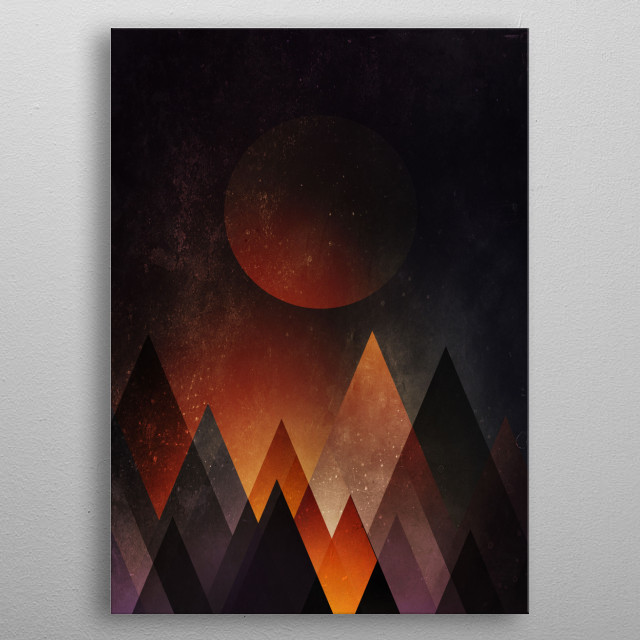 When the abstract mountains turn into a warm cozy blanket at night. metal poster