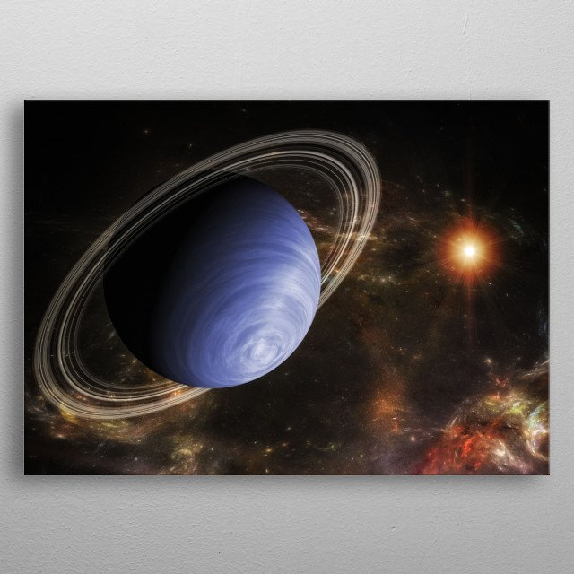 A ringed planet in the deep space metal poster