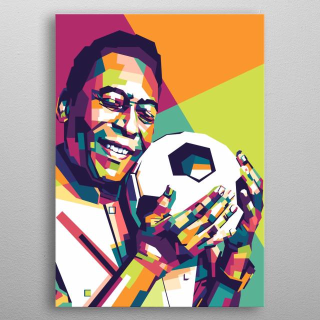 A WPAP artwork of legendary footballer Pele metal poster