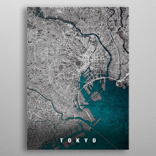 Tokyo, Japan Map metal poster