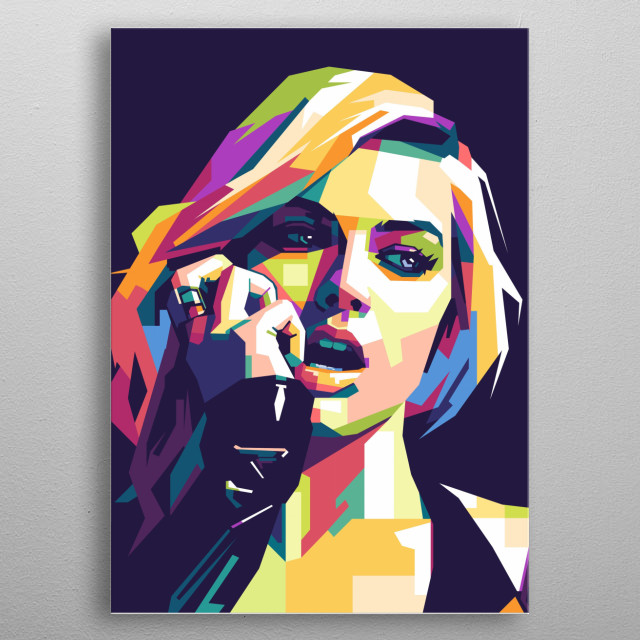 A colourful popart portrait of Margot robbie metal poster