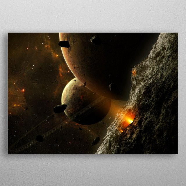 Volcanic activities on a moon in a planetary system somewhere in space.  metal poster