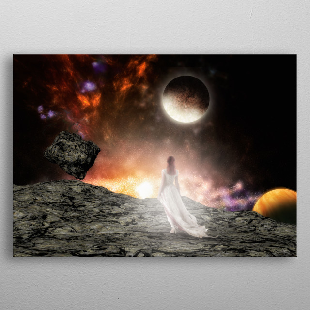 A woman is in front an amazing space scape on an asteroid metal poster