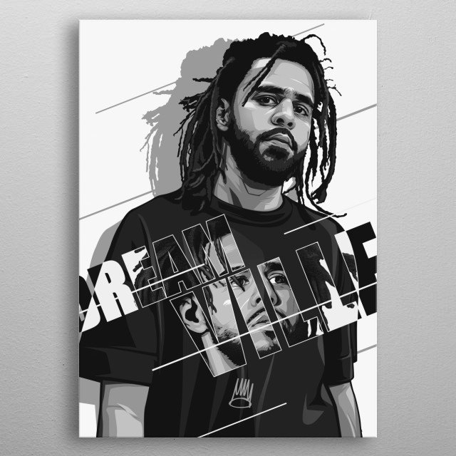 Dreamville Black and white metal poster