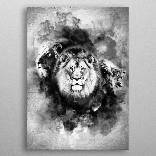 Abstract Lion Animals Poster Print Metal Posters Displate