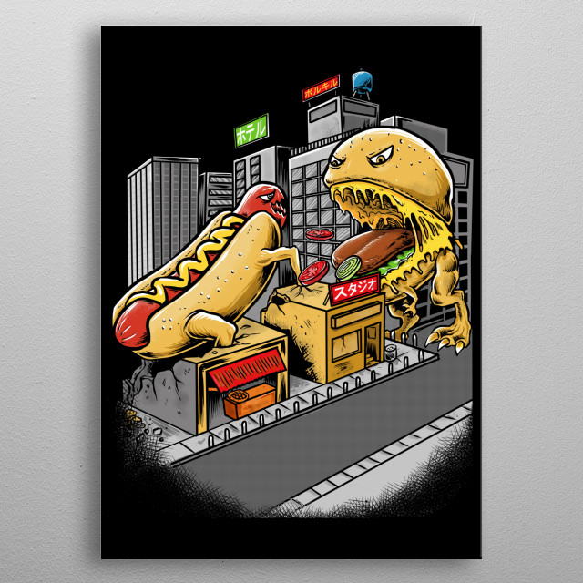 the battle between hot dogs and hamburgers in a small town, to prove who is worthy of being the best food metal poster