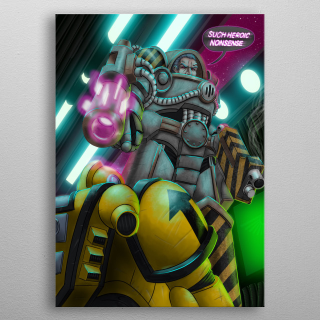 Warhammer 40K Iron Warrior looming over a Imperial Fist space marine, quoting from 1986 Transformers movie. Outrun themed lighting. metal poster