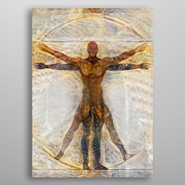 Da Vinci Vitruvian plus Orthodox icon crucifix , and maybe sci-fy reference... metal poster