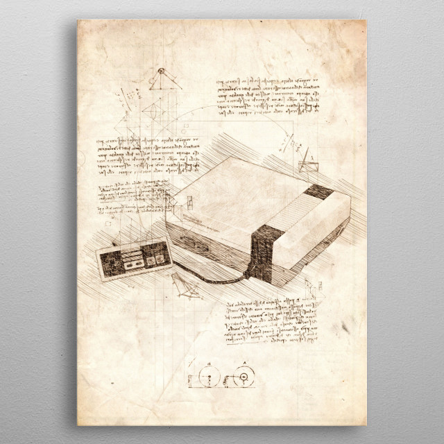 Sketch of a Nintendo Entertainment System metal poster