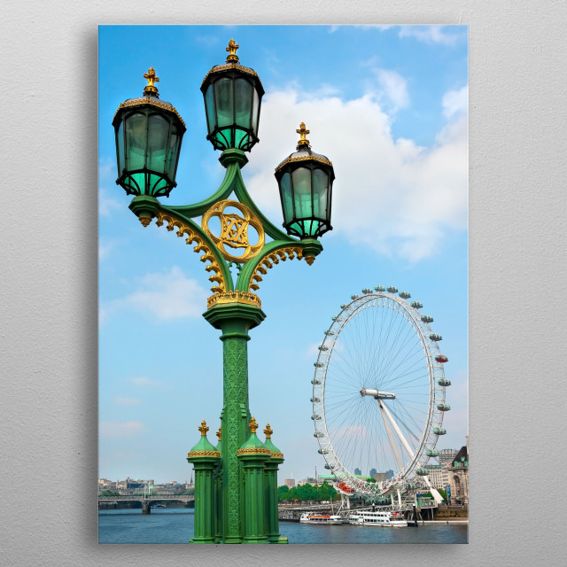 London Eye and river Themes in London metal poster