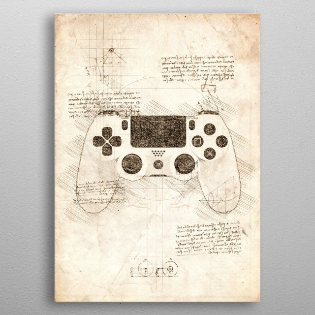 Sketch of a PlayStation 4 Gamepad metal poster