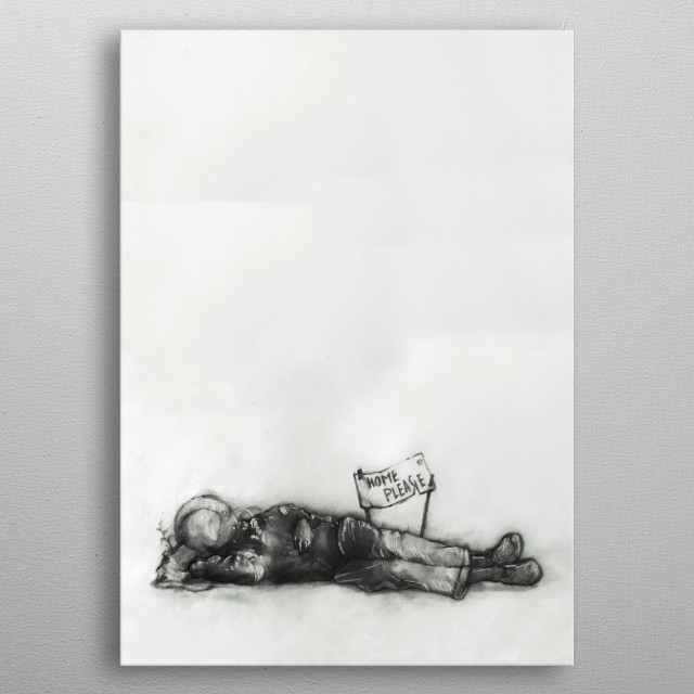 Illustration of a Homeless astronaut. metal poster