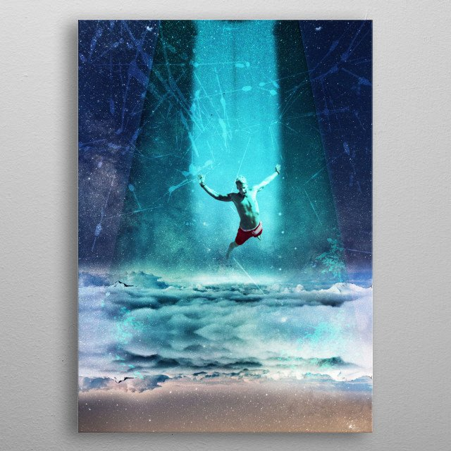 a boy beamed up in the sky from an unknown space ship. title inspired by the femous quote beam me up scotty from star trek  metal poster