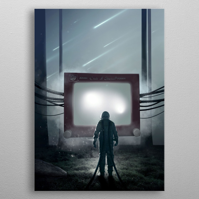 Illustration inspired about a dystopian future. Inspired by the Etch-a-sketch. metal poster