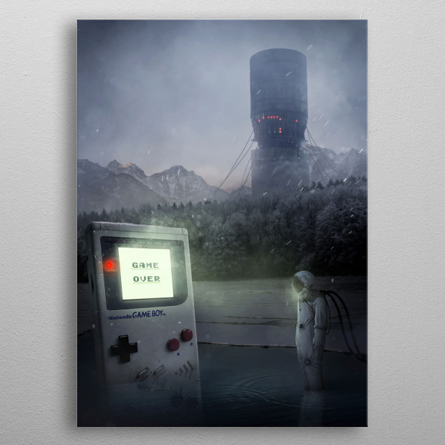 Illustration about a dystopian future. Inspired by the retro gaming, the gameboy and Nintendo. metal poster