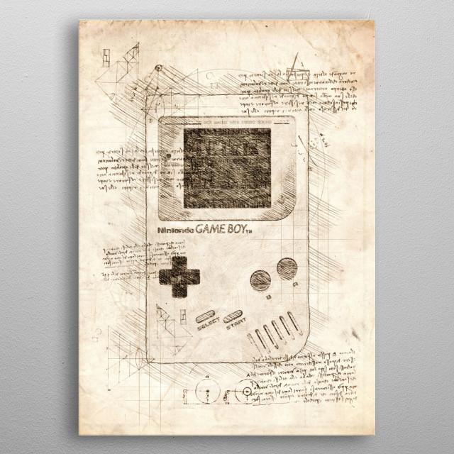Sketch of a Nintendo Gameboy metal poster