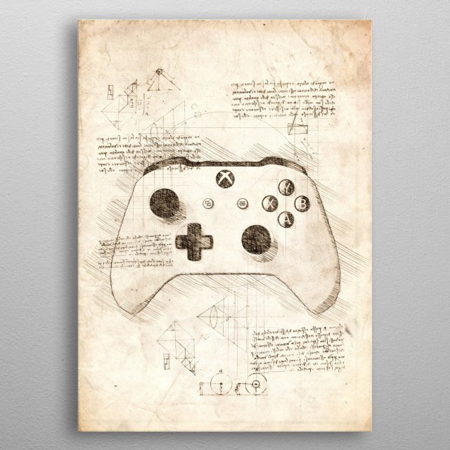 Sketch of a Xbox One Gamepad metal poster