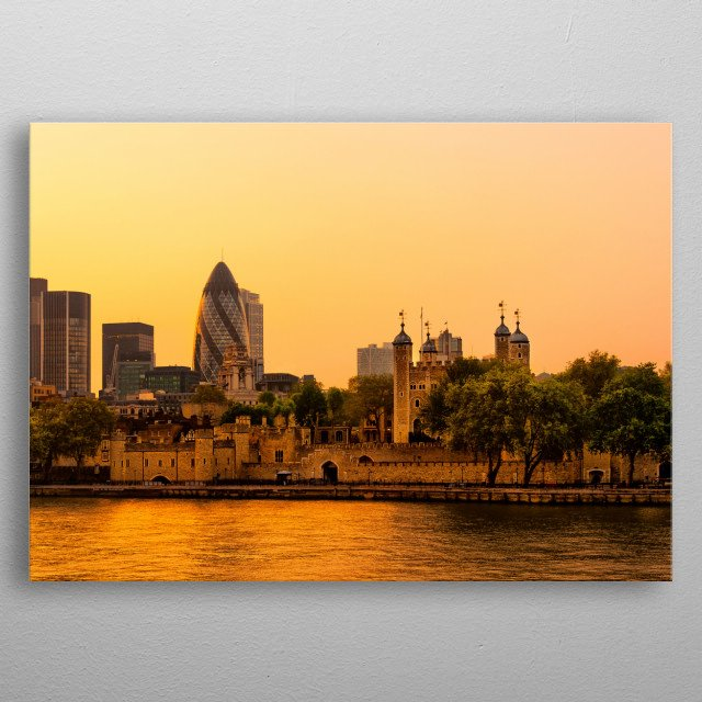 Evening London and river Themes metal poster