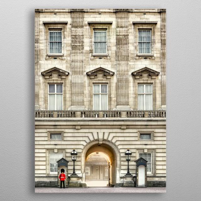 Guard near Buckingham Palace in London metal poster