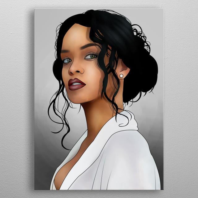 Ilustration of Rihanna metal poster