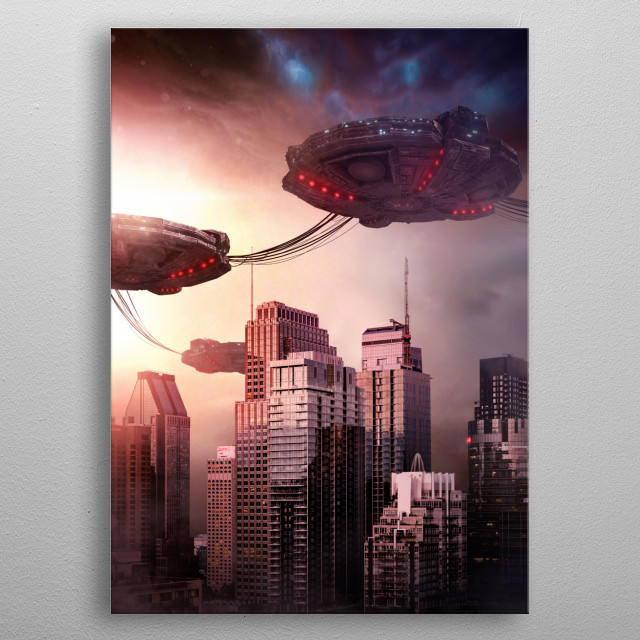 Photo of Montreal surrounded by UFO. metal poster