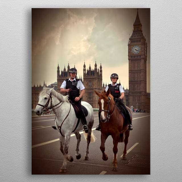 Police on the horses in London metal poster