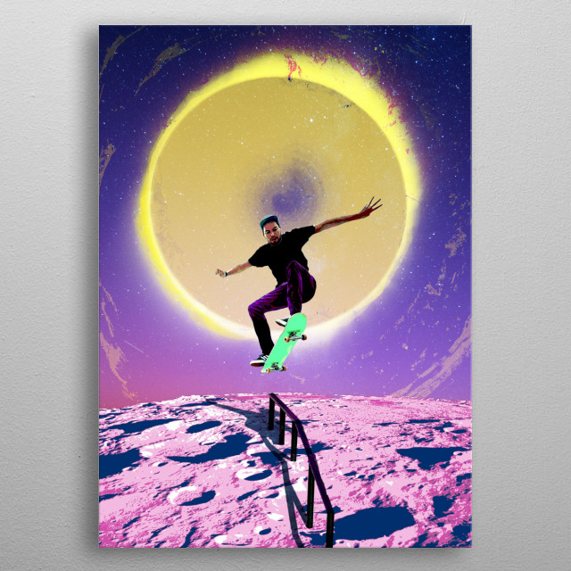 skating on the moon with the sun in the distance. lets not do the moonwalk but skate instead!  metal poster