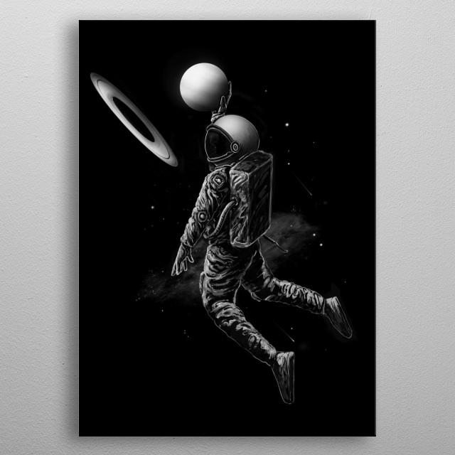 Slam dunk in space. metal poster